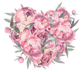 Peonies. Flower heart. Watercolor illustration.