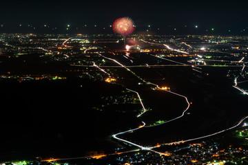 獅子吼高原から眺める川北まつり北國大花火川北大会