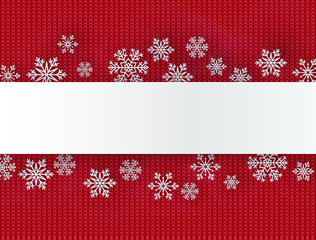 Christmas background with decorative snowflake. Knit pattern. Merry Christmas and Happy New Year Greetings card. Paper cut snowflakes design.
