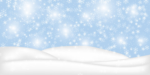 Christmas landscape with falling snowflakes. Snow background. Realistic snowdrift isolated. Vector illustration.