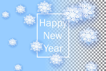 Snowflakes on transparent background. Happy New Year 2019. Christmas banner with snowflake. Vector illustration with falling snow.