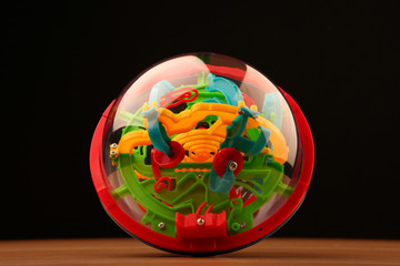 puzzle labyrinth toy ball wooden table