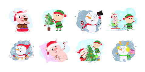 Funny cartoon company set illustration. Cartoon company with elf, snowman and piglet in different poses. Can be used for topics like Christmas, winter, festivals, Happy New Year