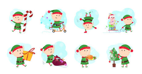 Set illustration of santa helpers. Funny elves in different poses. Can be used for topics like Christmas, winter, festivals, Happy New Year