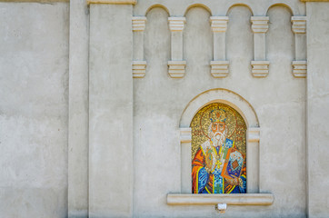 Icon St. Nicholas on the external wall of the church