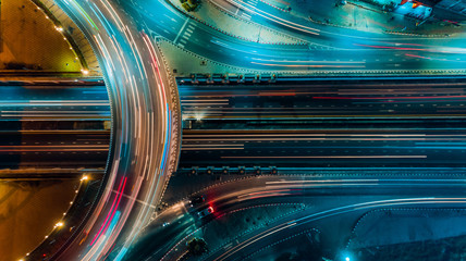 Aluminium Prints Night highway Expressway top view, Road traffic an important infrastructure