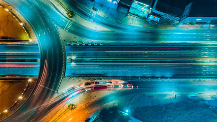 Wall Murals Night highway Expressway top view, Road traffic an important infrastructure