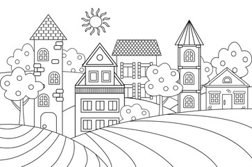 Vector landscape with houses for coloring book