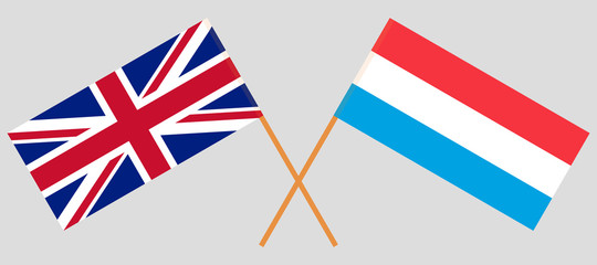 Luxembourg and UK. The Luxembourgish and British flags. Official proportion. Correct colors. Vector