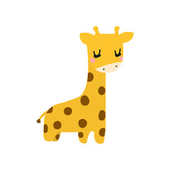 Cute giraffe drawn by hand. For printing on children's clothes.