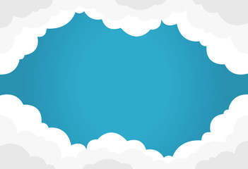 Blue sky with white clouds background. Border of clouds. Flat style simple vector illustration.