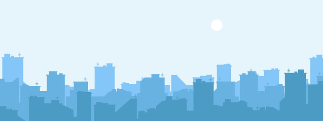 Silhouette of the city. Cityscape background. Simple blue texture. Urban landscape. For banner or template. Modern city with layers. Flat style vector illustration. Fotomurales