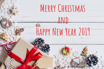 Christmas background and christmas decoration and Happy new year 2019 presents concept, top view with copy space.