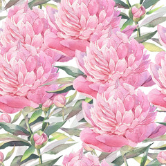 Pink peonies. Hand painted watercolor  illustration. Seamless pattern.