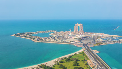 Canvas Prints Abu Dhabi Aerial view of Marina Mall and Marina island in Abu Dhabi, UAE - panoramic view of shopping district