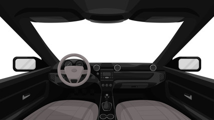 Car salon. View from inside of vehicle. Dashboard front panel. Driver view. Simple cartoon design. Realistic car interior. Flat style vector illustration.