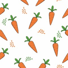 Seamless pattern with carrots and leaves