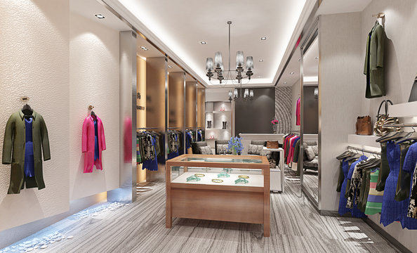 3d render of fashion store