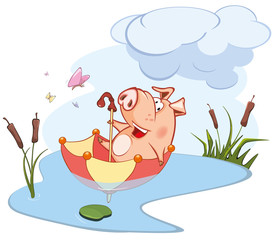 Vector Illustration of a Cute Pig. The adventures of a pig