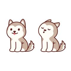 Cute husky puppy howling