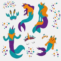 Caticorns and unicorns mermaid vector illustration
