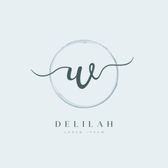 Elegant Initial Letter Type W Logo With Brushed Circle
