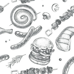 Decorative seamless pattern with Ink hand drawn meat products and grilled dishes. Food elements texture for your design. Vector illustration.