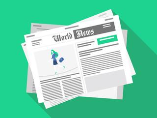 Newspaper. Flat design. Vector illustration