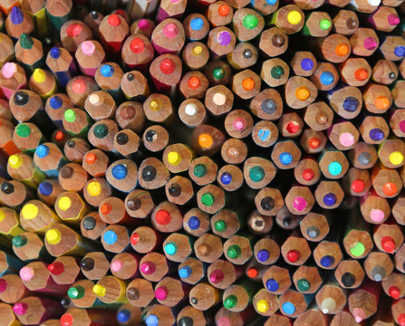 backgrounds of many colored pencils