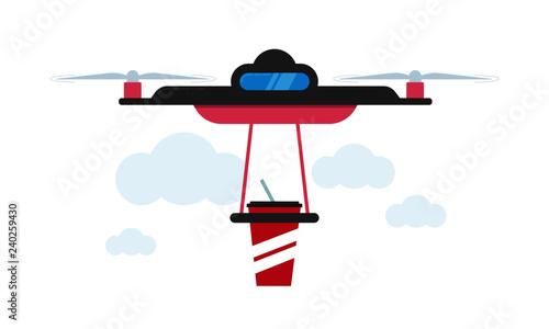 Drone Soda Delivery Concept Vector Illustration
