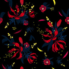 Dark red  Floral pattern in the many kind of flowers. Tropical botanical  Motifs scattered random. Seamless vector texture.  for fashion fabric and  all prints