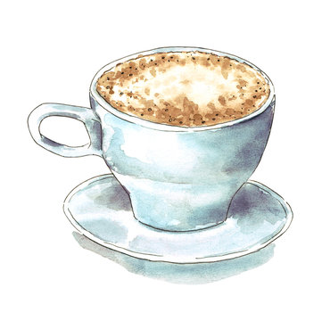 A blue cup of cappuccino, hand drawn watercolor illustration