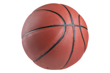 rubber brown classic basketball ball on a white background