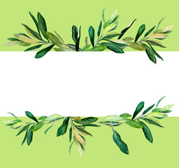Watercolor olive branches template on green background. Hand drawn watercolor illustration. Design for covers, packaging, season offers, just add your text.