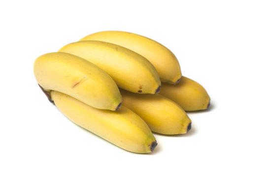 closeup of baby banana on white background