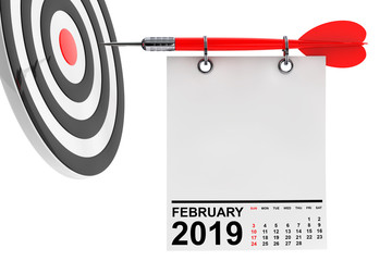 Calendar February 2019 with Target. 3d Rendering