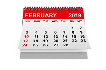 Calendar February 2019. 3d rendering