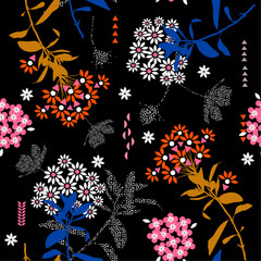 Beautiful geometric flower mix with garden leaf in the dark ,colorful mood for fashion fabric,wallpaper and all prints