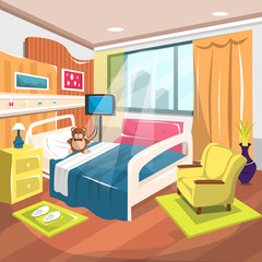 Clean Inpatient Rehab Room Hospital with Large Bed, Heart Rate Monitor, Sofa, Dolls, Big Windows with Warm Curtain Decoration for Cartoon Vector Illustration Ideas