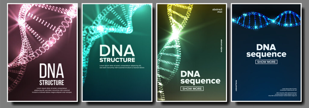 Dna Poster Set Vector. Genetic Molecule. Abstract Helix. Clone Atom. Mutation Test. Futuristic Code. Science Background. Biochemistry Flyer. Illustration