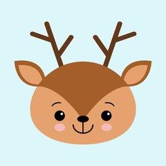 Illustration of a head of a cute deer on a blue background. cartoon character