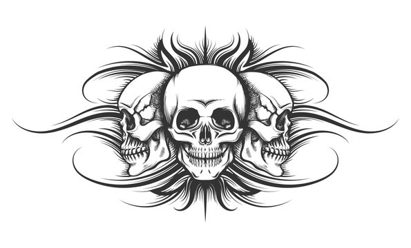 Three Skulls Tattoo Illustration