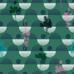 Beautiful  Vector botanic silhouette floral seamless pattern on modern colorful stripe polka dot, delicate floral wallpaper,