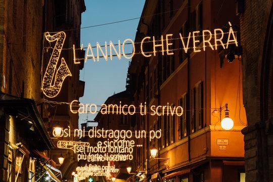 Via d'Azelio, Lucio Dalla lyrics light decorations at Christmas, Bologna, Italy