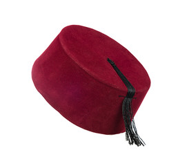 Traditional Turkish hat called fez isolated on white background.