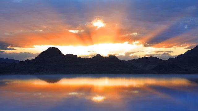 Sun set reflection in Bonneville salt flats
