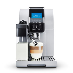 Modern automatic coffee machine.  Front view.