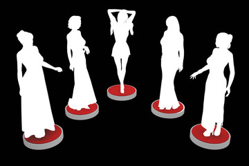 group of girls silhouettes on red pedestals