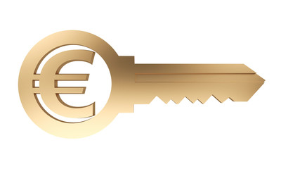 golden key with euro currency symbol