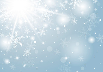 Christmas background concept design of white snowflake and snow in winter with copy space vector illustration